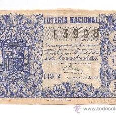 Lotería Nacional: ANTIGUA LOTERIA NACIONAL 13998 SORTEO Nº 32 DE 1951 PRECIO 10 PESETAS 5ª SERIE CUARTA. Lote 34405137