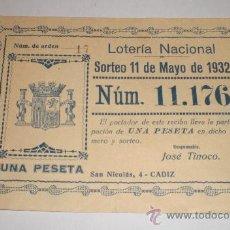 Lotería Nacional: LOTERIA NACIONAL, SORTEO 11 DE MAYO DE 1932, 1 PESETA, CADIZ. Lote 34468924