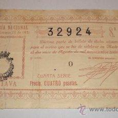 Lotería Nacional: LOTERIA NACIONAL, SORTEO Nº 23 DE 1931, CUARTA SERIE, 4 PESETAS. Lote 34468986