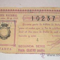 Lotería Nacional: LOTERIA NACIONAL, SORTEO Nº 20 DE 1931, SEGUNDA SERIE, 4 PESETAS. Lote 36613428