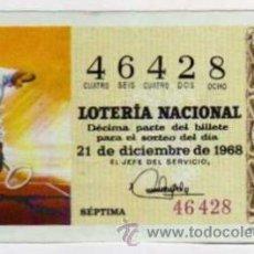 Lotería Nacional: DÉCIMO LOTERIA NACIONAL - 21 / DICIEMBRE / 1968 - TENIS. Lote 34562082