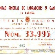 Lotería Nacional: PARTICIPACIÓN *LOTERÍA NACIONAL SORTEO NAVIDAD* AÑO 1948 - Nº 33995 -- HERMANDAD SINDICAL LABRADORES. Lote 34707074