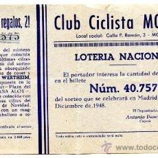 Lotería Nacional: PARTICIPACIÓN *LOTERÍA NACIONAL SORTEO NAVIDAD* AÑO 1948 - Nº 40757 -- CLUB CICLISTA MOLLET. Lote 34707098