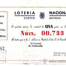Lotería Nacional: PARTICIPACIÓN *LOTERÍA NACIONAL SORTEO NAVIDAD* AÑO 1948 - Nº 00733 -- PAPELERÍA-LIBRERÍA PORTAVELLA. Lote 34707122