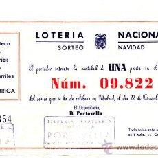 Lotería Nacional: PARTICIPACIÓN *LOTERÍA NACIONAL SORTEO NAVIDAD* AÑO 1948 - Nº 09822 -- PAPELERÍA-LIBRERÍA PORTAVELLA. Lote 34707159