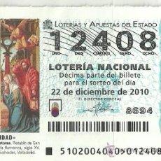 Lotería Nacional: LOTERIA NACIONAL SORTEO NAVIDAD 2010. Lote 35740825
