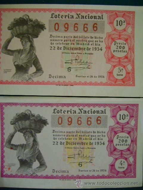2 DÉCIMOS LOTERÍA NACIONAL SORTEO 36 (22 DICIEMBRE 1954) (Coleccionismo - Lotería Nacional)