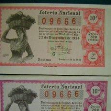 Lotería Nacional: 2 DÉCIMOS LOTERÍA NACIONAL SORTEO 36 (22 DICIEMBRE 1954). Lote 34992010
