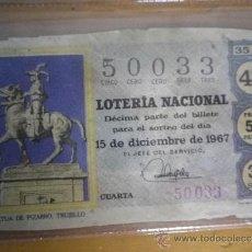 Lotería Nacional: LOTERÍA NACIONAL 15 DICIEMBRE 1967. Lote 35054593