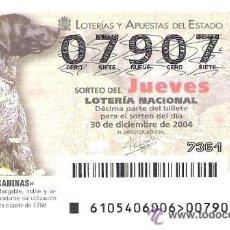 Loterie Nationale: 1 DECIMO LOTERIA DEL JUEVES - 30 DICIEMBRE 2004 - 105/04 - RAZAS CANINAS - PERROS ( BRACO ALEMAN ) . Lote 35067937