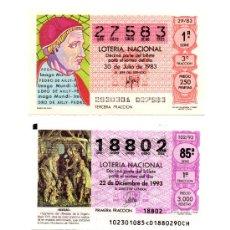 Lotería Nacional: 4 BILLETES DE LOTERÍA, AÑOS 80/90.. Lote 35173423