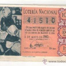 Lotería Nacional: DÉCIMO DE LOTERIA. 5 DE MAYO DE 1960. SORTEO 13. ADMÓN 19. VALENCIA. 60-13.. Lote 35447532