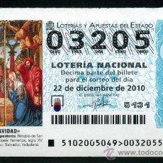 Lotería Nacional: LOTERIA NACIONAL DE NAVIDAD Nº03305 DEL 22 DE DICIEMBRE DEL 2010 SIN CIRCULAR MAS EN MI TIENDA . Lote 35507585