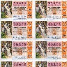 Lotería Nacional: PLIEGO DE 10 CUPONES DE LOTERIA NACIONAL DEL 22 DE DICIEMBRE DE 1979 SC ( MANANTIAL DE AGUA ). Lote 36006167