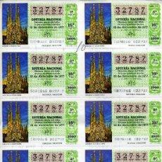 Lotería Nacional: PLIEGO DE 10 CUPONES DE LOTERIA Nº32787 DEL 22 DE DICIEMBRE DE 1977(LA SAGRADA FAMILIA) VERDE CLARO. Lote 36028769