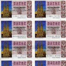 Lotería Nacional: PLIEGO DE 10 CUPONES DE LOTERIA Nº32787 DEL 22 DE DICIEMBRE DE 1977(LA SAGRADA FAMILIA) LILA OSCURO. Lote 36029364