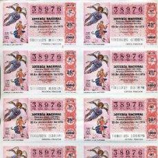 Lotería Nacional: PLIEGO DE 10 CUPONES DE LOTERIA Nº38976 DEL 22 DE DICIEMBRE DE 1976(ANUNCIO A LOS PASTORES) NARANJA. Lote 36032703