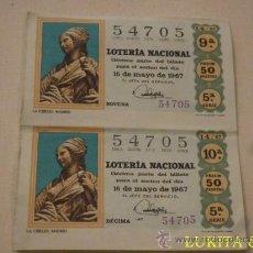 Lotería Nacional: 2 DÉCIMO LOTERÍA NACIONAL -1967.. Lote 36129072