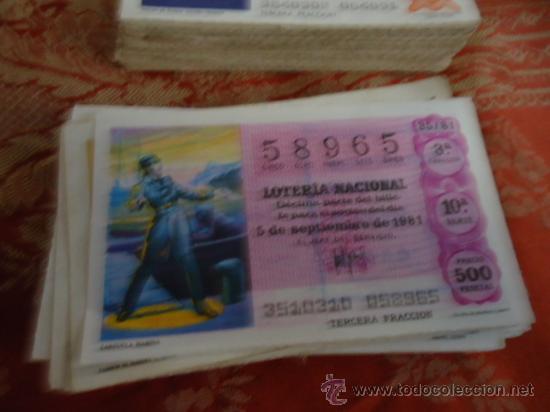 1981 LOTERIA NACIONAL CUPONES DECIMO , PIDA SUS FALTAS POR FECHAS (Coleccionismo - Lotería Nacional)