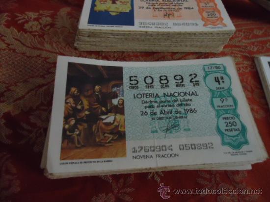 1986 LOTERIA NACIONAL CUPONES DECIMO , PIDA SUS FALTAS POR FECHAS (Coleccionismo - Lotería Nacional)