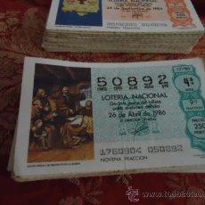 Lotería Nacional: 1986 LOTERIA NACIONAL CUPONES DECIMO , PIDA SUS FALTAS POR FECHAS . Lote 36145344
