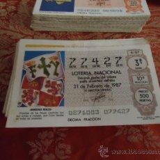 Lotería Nacional: 1987 LOTERIA NACIONAL CUPONES DECIMO , PIDA SUS FALTAS POR FECHAS . Lote 36145365