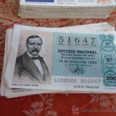Lotería Nacional: 1980 LOTERIA NACIONAL CUPONES DECIMO , PIDA SUS FALTAS POR FECHAS . Lote 36145380