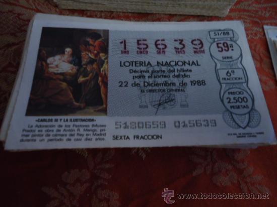 1988 LOTERIA NACIONAL CUPONES DECIMO , PIDA SUS FALTAS POR FECHAS (Coleccionismo - Lotería Nacional)