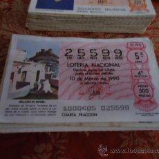 Lotería Nacional: 1990 LOTERIA NACIONAL CUPONES DECIMO , PIDA SUS FALTAS POR FECHAS . Lote 36145446