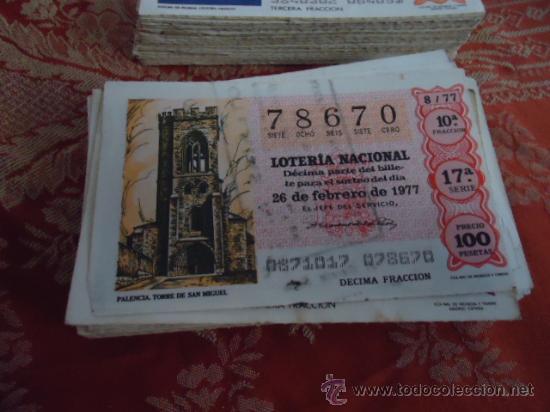 1977 LOTERIA NACIONAL CUPONES DECIMO , PIDA SUS FALTAS POR FECHAS (Coleccionismo - Lotería Nacional)