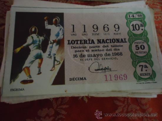1968 LOTERIA NACIONAL CUPONES DECIMO , PIDA SUS FALTAS POR FECHAS (Coleccionismo - Lotería Nacional)