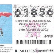 Lotería Nacional: 1 DECIMO LOTERIA DEL SABADO -- 9 FEBRERO 2002 -- 11/02 - DEPORTES - PARAPENTE. Lote 36359615