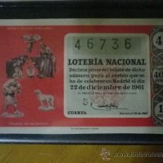 Lotería Nacional: DÉCIMO LOTERÍA NACIONAL AÑO 1961 SORTEO Nº 36 22 DICIEMBRE. Lote 36494987