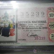 Lotería Nacional: DÉCIMO LOTERÍA NACIONAL SORTEO Nº 36-69 22 DICIEMBRE . Lote 36768945