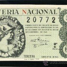 Lotería Nacional: LOTERIA NACIONAL, AÑO 1945 SORTEO 36 ( D - 0144 ). Lote 36898390
