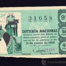 Lotería Nacional: LOTERIA NACIONAL - 15 ENERO 1966 - SORTEO Nº 2 - 4ª SERIE.. Lote 37070448