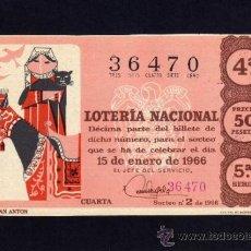 Lotería Nacional: LOTERIA NACIONAL - 15 ENERO 1966 - SORTEO Nº 2 - 5ª SERIE.. Lote 37070460