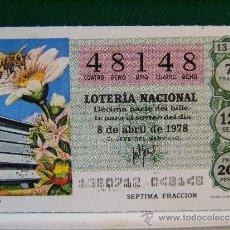 Lotería Nacional: APICULTURA - 8 DE ABRIL DE 1978 - LOTERIA NACIONAL - 48148 - 13/78.. Lote 37123772