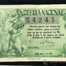 Lotería Nacional: LOTERIA NACIONAL, AÑO 1949 SORTEO 01 ( D - 0201 ). Lote 37165378