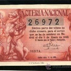 Lotería Nacional: LOTERIA NACIONAL, AÑO 1949 SORTEO 01 8 D - 0202 - 2 ). Lote 37165387