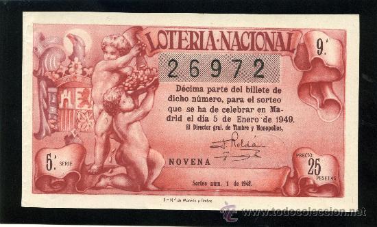LOTERIA NACIONAL, AÑO 1949 SORTEO 01 ( D - 0202 - 1 ) (Coleccionismo - Lotería Nacional)