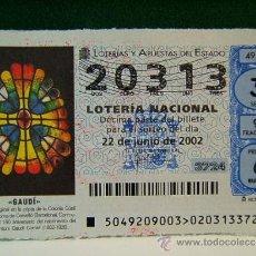 Lotaria Nacional: ANTONI GAUDI CORNET-COLONIA GUEL-SANTA COLOMA DE CERVELLO-BARCELONA-LOTERIA NACIONAL-20313-49/02.. Lote 37195455