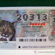 Lotería Nacional: LINCE IBERICO - LYNX PARDINUS - FAUNA - 25 DE ENERO DE 2007 -LOTERIA NACIONAL- JUEVES - 20313 - 7/07. Lote 37248139