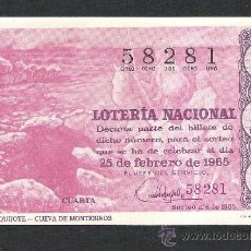 Lotería Nacional: DECIMO LOTERIA NACIONAL SORTEO 6 AÑO 1965 RUTA DEL QUIJOTE CUEVA DE MONTESINOS. Lote 37252424