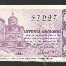 Lotería Nacional: DECIMO LOTERIA NACIONAL SORTEO 18 AÑO 1965 CAMINO DE SANTIAGO CAPILLA TEMPLARIOS TORRES DEL RIO. Lote 37252511