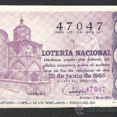 Lotería Nacional: DECIMO LOTERIA NACIONAL SORTEO 18 AÑO 1965 CAMINO DE SANTIAGO CAPILLA TEMPLARIOS TORRES DEL RIO. Lote 37252523