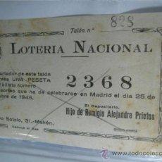 Lotería Nacional: PARTICIPACION LOTERIA NACIONAL UNA PESETA 1948. Lote 37355277