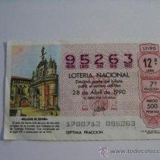 Lotería Nacional: LOTERIA NACIONAL BILLETE 28 DE ABRIL DE 1990 Nº 95263. Lote 37563922