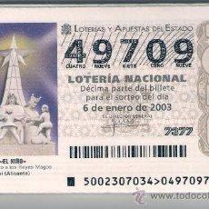 Lotería Nacional: LOTERIA NACIONAL 2003 AÑO COMPLETO. DIFUSIÓN DE CONMEMORACIONES.. Lote 37491292