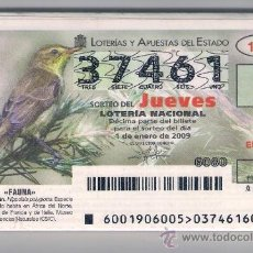 Lotería Nacional: LOTERIA NACIONAL. AÑO COMPLETO 2009. SORTEO DEL JUEVES. FAUNA.. Lote 37492945